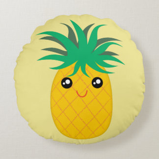 Be A Pineapple Stand Tall Be Sweet Yellow Green Round Pillow