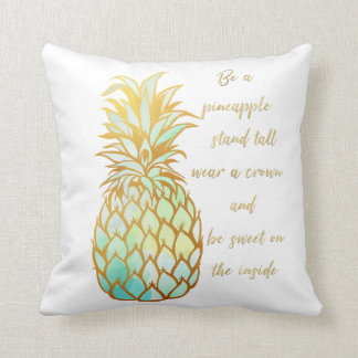 Be A Pineapple Throw Pillow in tones of green/blue