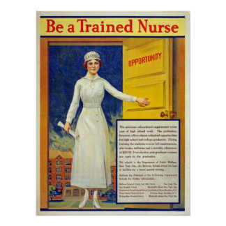 Be a trained nurse, restored vintage poster