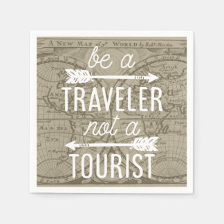 Be a Traveler Not a Tourist Map Typography Quote Paper Napkin