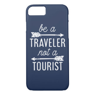 Be a Traveler Not a Tourist Navy Blue Quote Case-Mate iPhone Case