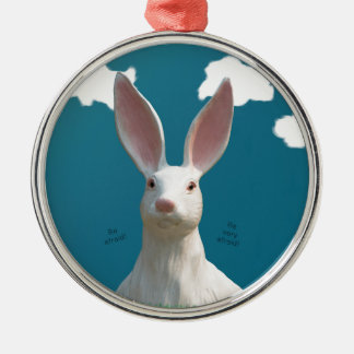 Be Afraid! Creepy Bunny Art! Silver-Colored Round Ornament