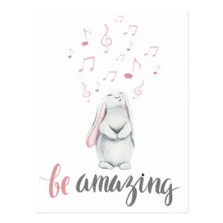 Be Amazing Music Bunny Postcard