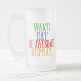 Be Awesome! Frosted Glass Beer Mug