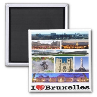BE - Belgium - Brussels - I Love - Collage Mosaic Square Magnet