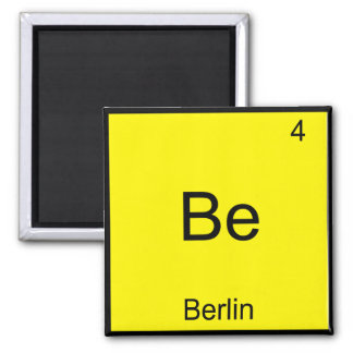 Be - Berlin Funny Chemistry Element Symbol T-Shirt Square Magnet