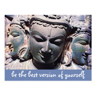 """""""Be best version"""" quote Asian stone faces photo Postcard"""