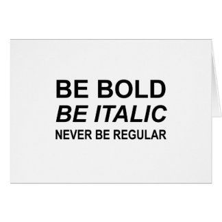 Be Bold Italic Regular Font Card