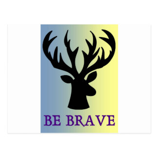 Be brave deer head shadow postcard