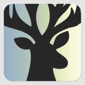 Be brave deer head shadow square sticker