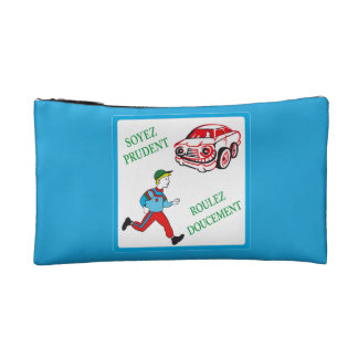 Be Cautious, Drive Slowly, Traffic Sign, France Cosmetic Bags