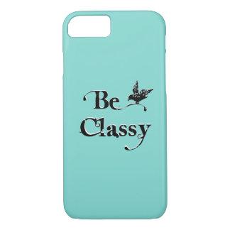 Be Classy | Stylish Chic Girly Tiffany Blue Custom iPhone 7 Case