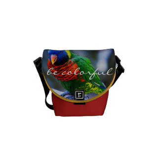 """""""Be Colorful"""" Quote Red Blue Green Bird Photo Mini Courier Bag"""