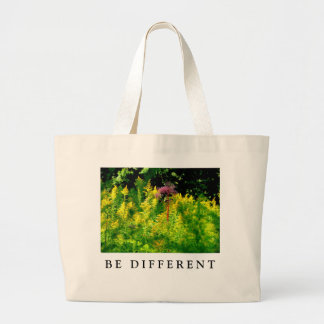 BE DIFFERENT - Pink flower in a field of yellow Large Tote Bag