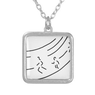 be enough-strain meter run track-and-field events  silver plated necklace
