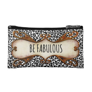 Be Fabulous Quote with Animal Print Cosmetics Bags