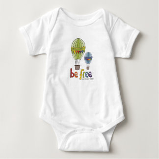 Be Free Hotair Ballons in Rainbow Colours Baby Bodysuit