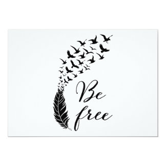 Be free with feather and birds card