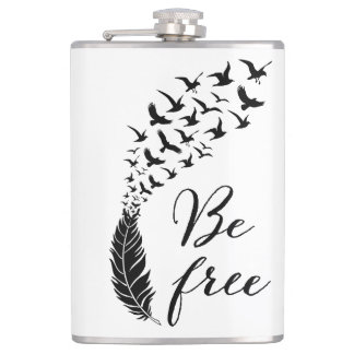 Be free with feather and birds hip flask