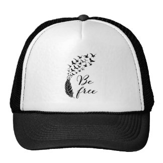 Be free with feather and birds trucker hat