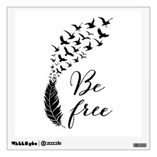 Be free with feather and birds wall sticker