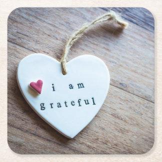 Be grateful square paper coaster