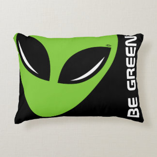 Be Green Alien Accent Pillow