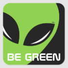 Be Green Alien Square Sticker