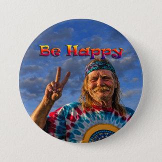 BE HAPPY 3 INCH ROUND BUTTON