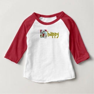 Be Happy Bee and Pink Flowers Art Baby T-Shirt