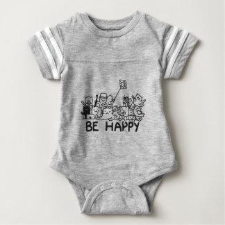 Be Happy Cats Doodle Baby Bodysuit
