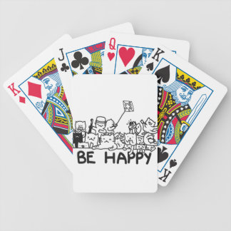 Be Happy Cats Doodle Bicycle Playing Cards