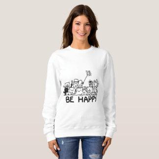 Be Happy Cats  Doodle Women's Basic Sweatshirt