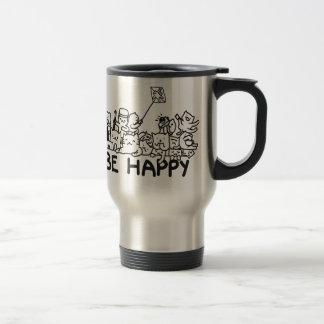 Be Happy Cats Doodles Travel/Commuter Mug