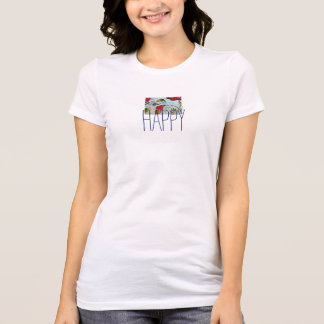 Be Happy Floral Art T-Shirt