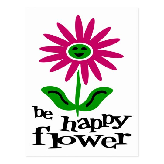 Be Happy Flower Postcard