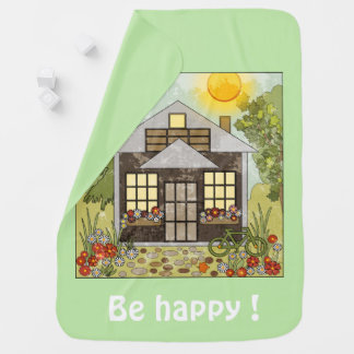 Be happy ! green baby blanket