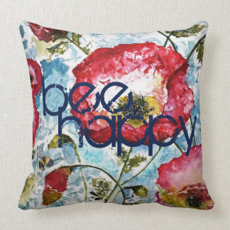 Be Happy Poppies Watercolor Art Pillow