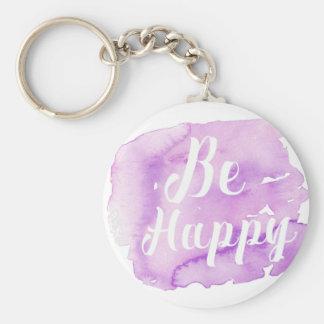 Be Happy Purple Watercolor Keychain