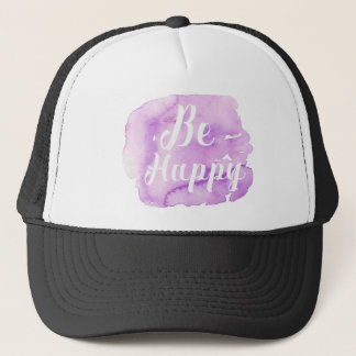 Be Happy Purple Watercolor Trucker Hat