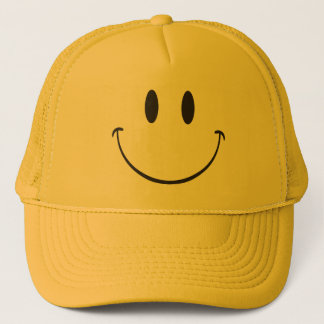 Be happy smiling emoji trucker hat