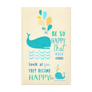 Be Happy Whale Canvas