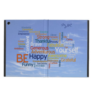 Be Happy Word Cloud in Blue Sky Inspire Case For iPad Air