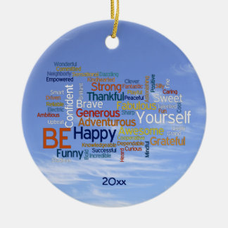 Be Happy Word Cloud in Blue Sky Inspire Ceramic Ornament