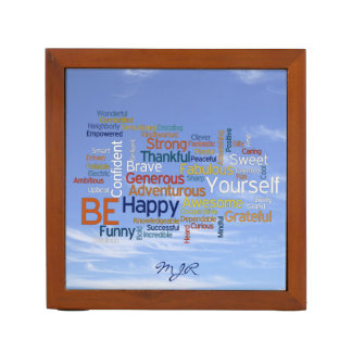 Be Happy Word Cloud in Blue Sky Inspire Desk Organizer