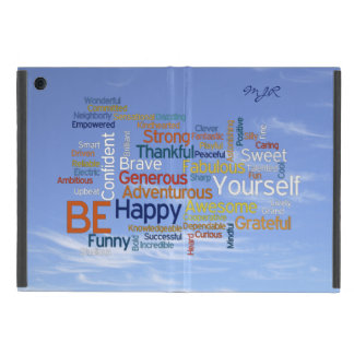 Be Happy Word Cloud in Blue Sky Inspire iPad Mini Cover