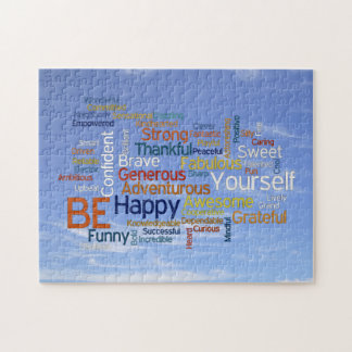 Be Happy Word Cloud in Blue Sky Inspire Jigsaw Puzzle