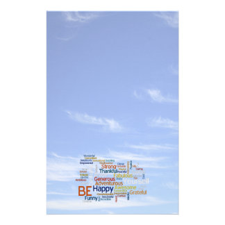 Be Happy Word Cloud in Blue Sky Inspire Personalized Stationery