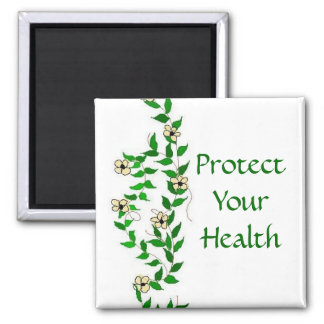 Be Healthy Vines And Flowers Square Magnet