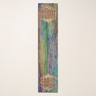 Be Here Now Scarf, Batik Teal Gold Swirl Scarf